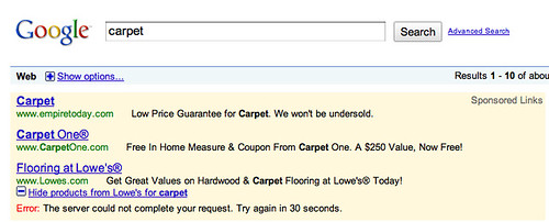 Google Product AdWords Error