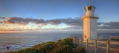 Shine (WilliamBullimore) Tags: ocean sea panorama lighthouse clouds sunrise fence dawn coast waves au rocky australia victoria cliffs coastal hdr bassstrait capeliptrap