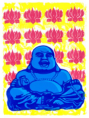 laughing buddha screen print poster