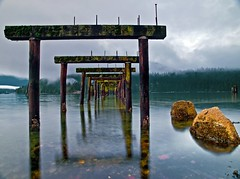 Barnet Pierness (Christopher J. Morley) Tags: longexposure canada water rocks burnaby burrardinlet pilings oldpier 6seconds beautifulbritishcolumbia barnetmarinepark artofimages bestcapturesaoi elitegalleryaoi