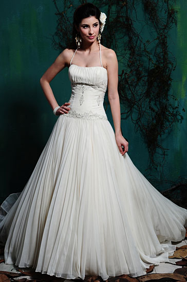 Wedding dress A-line style.