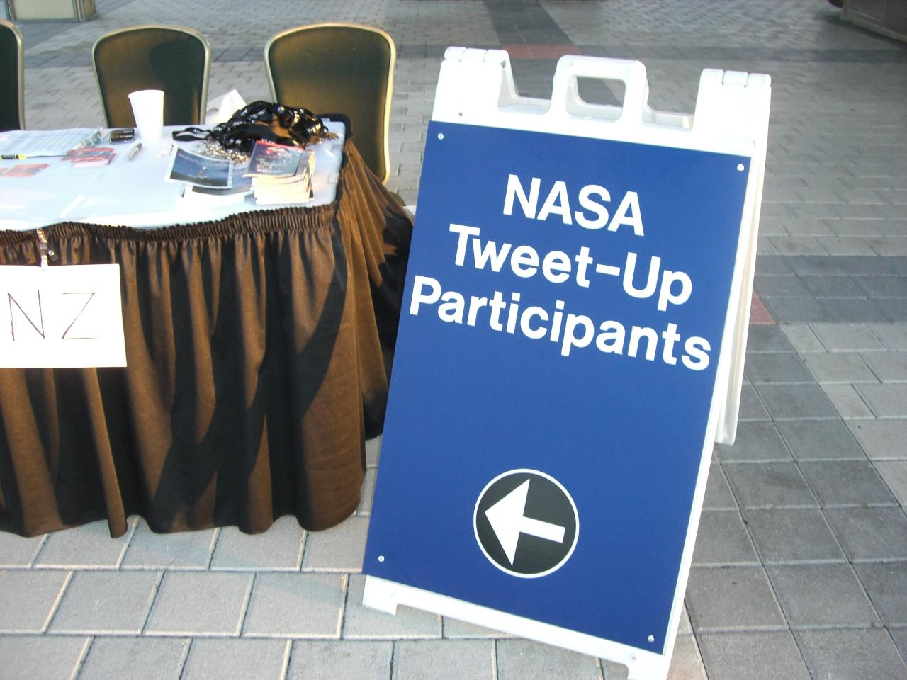 NASA Tweetup check-in table