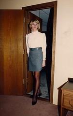 Taking Those First Tentative Steps (Laurette Victoria) Tags: triess laurettevictoria chicago chichapter laurette secretary mini skirt blouse woman