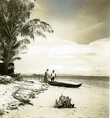 Marian Fairchild on the beach of Manipa Island