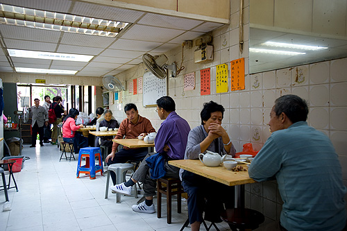 Inside a dim sum restaurant in Macau