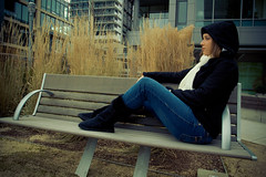 Christina (Shaun Ingham) Tags: park light portrait urban modern scarf canon bench town hoodie downtown waterfront boots christina south down jeans condos parkbench 1740mm 1740l 50d