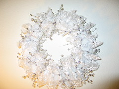 winter wreath (kira-waldman) Tags: christmas xmas winter white silver beads shine decoration garland ring wreath ribbon styrofoam wiredribbon