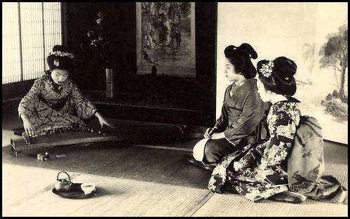 A MAIKO AND HER KOTO -- Practicing under the Watchful Eye of a Geisha in OLD JAPAN