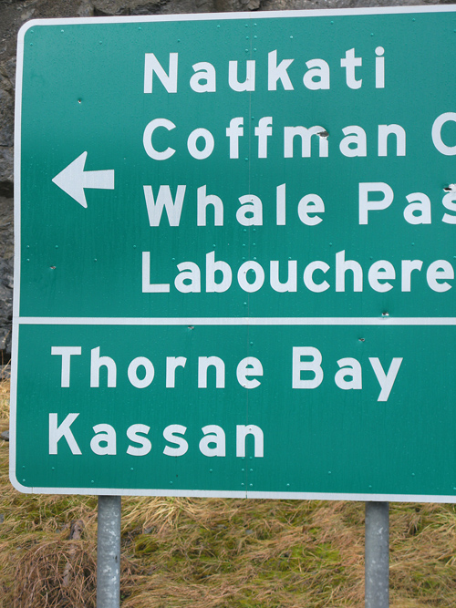 sign at intersection, Prince of Wales Island, Alaska