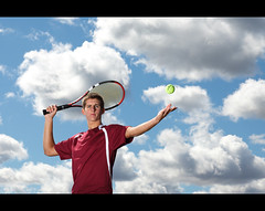 Let me serve one up ~ Evan Senior Shoot (~Phamster~) Tags: cactus sky senior clouds canon photography shoot tennis alienbee serve vagabond v4 85l ab1600 seniorshoot