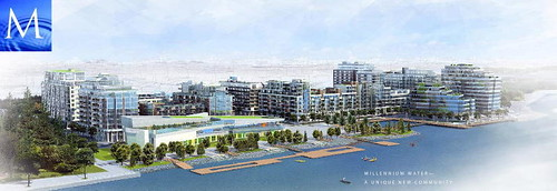 Millennium Water at SE False Creek, Olympic Village in foreground (by: MIllennium Water)