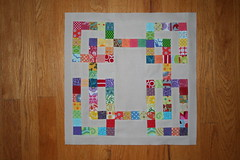 January Block for Bee Crazy (Mle BB) Tags: blue original red orange green yellow modern purple natural squares violet quiltblock quiltingbee beecrazy chicagomodernquiltguild