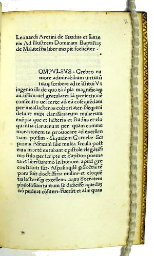 Incipit title in Brunus Aretinus, Leonardus: De studiis et litteris