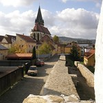 Bardejov: East view of the fortifications with Basilica minor of St. Egidius in background