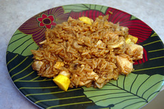 Fried Rice with Chicken, mushrooms and yellow squash (zebramermaid) Tags: food chicken yellow mushrooms rice sauce squash soy fried