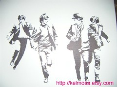 beatles 002 (Large) (Kelmosa) Tags: england blackandwhite art silhouette drawing icon marker singers beatles british celebrities sharpie johnlennon ringostarr thebeatles paulmccartney