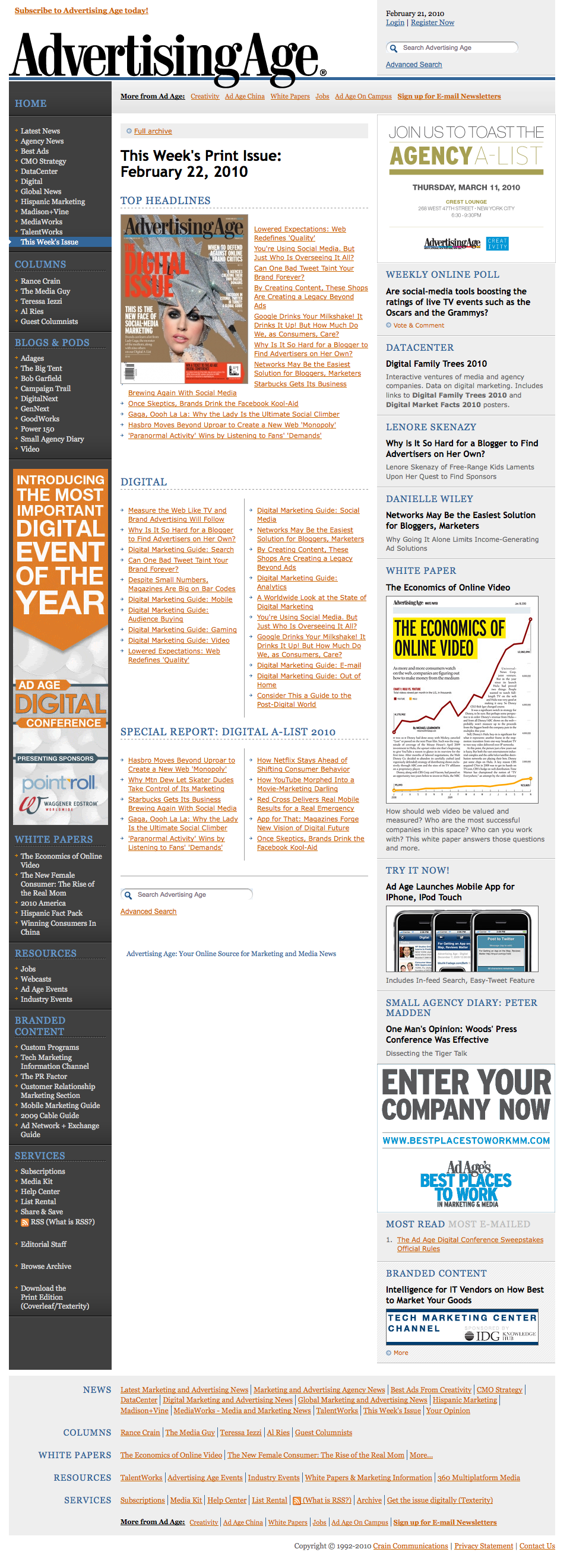 Advertising Age: This Week's Print Issue: The Digital Issue