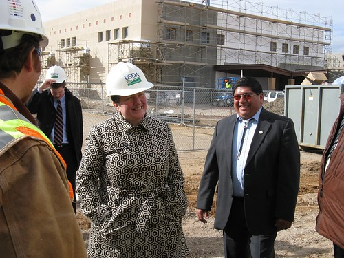 Deputy Secretary Kathleen Merrigan and Governor Chandler Sanchez (right) touring the new community center