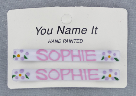 personalized girl hair barrett clip name hand painted