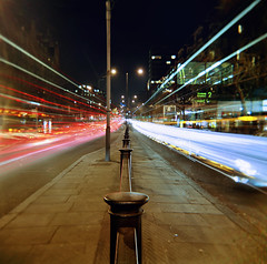 Euston Road, London (Anatoleya) Tags: road light bus slr london 120 bulb night holga lomo lomography long exposure traffic kodak release trails cable shutter medium format 160vc portra euston rd 120gcfn vle gcfn gorillapod anatoleya