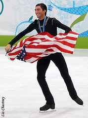 Evan Lysacek after receiving his Olympic gold medal. (Photo by Liz Chastney)