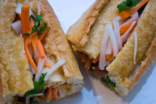 turkey meatball banh mi with pickled daikon and carrots