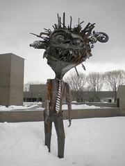 Excuse Me, There's a Bicycle in Your Hair (Pushing_Pixels) Tags: winter sculpture snow ny newyork art metal suny purchase