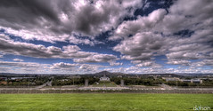 Clouds Over Calvary.. (dahon [ON VERY EXTENDED HOLIDAY]) Tags: above house grass clouds high memorial war view dynamic top hill australia parliament canberra range hdr
