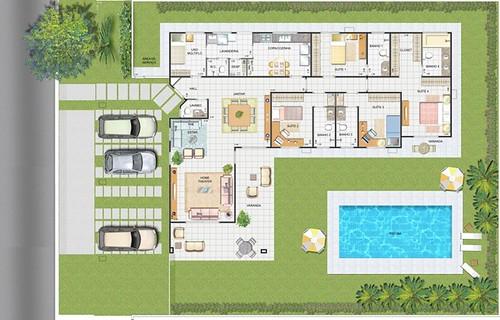 modelo de casa com piscina