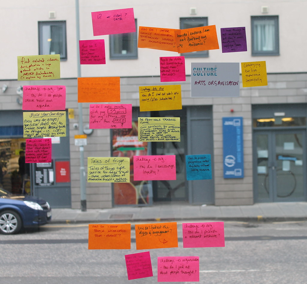 IMG_0410 by GetAmbITion/Erin Maguire - an image of post it notes with ideas written on them from Culture Hack Scotland.