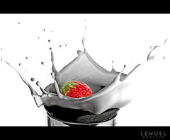 Strawberry Milk Shake (Lemuel Montejo) Tags: red milk strawberry nikon splash strobe strobing d7000 nikon50mmf14g
