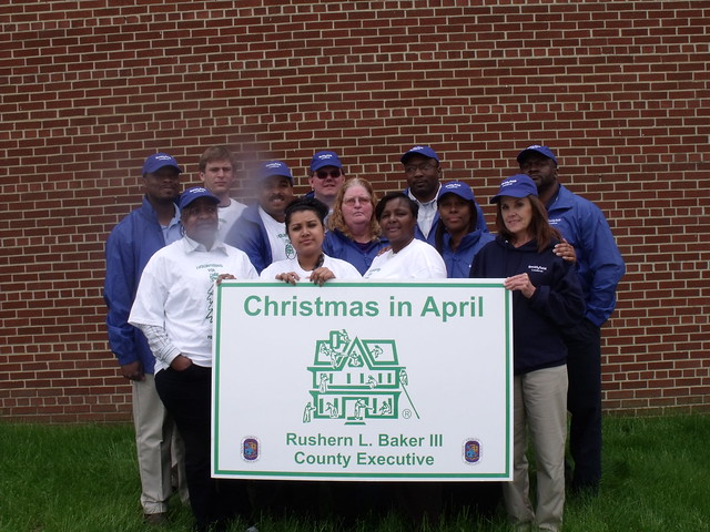 Folks from Smithfield Packing's Landover plant participated in the Christmas in April program, where they performed basic home renovations for individuals in the local community.