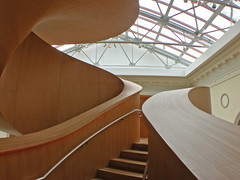Stair up 2 (kynggefisher) Tags: wood toronto public architecture stair skylight ago curve frankogehry walkercourt stairsequence