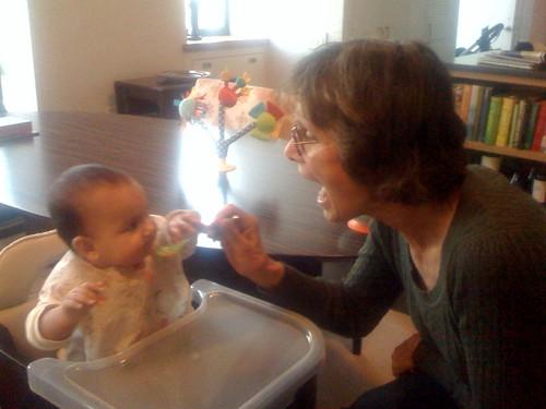 Susie feeding Laila