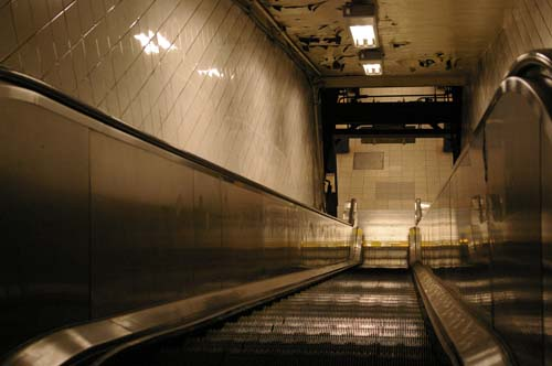 A metro station's escalator in NYC