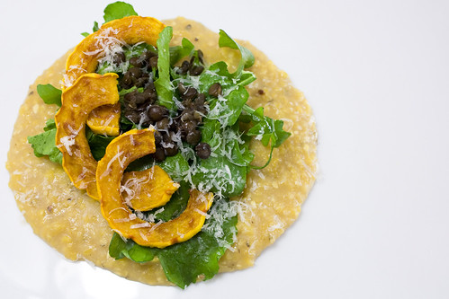 Roasted Delicata over Arugula and Parmesan Polenta
