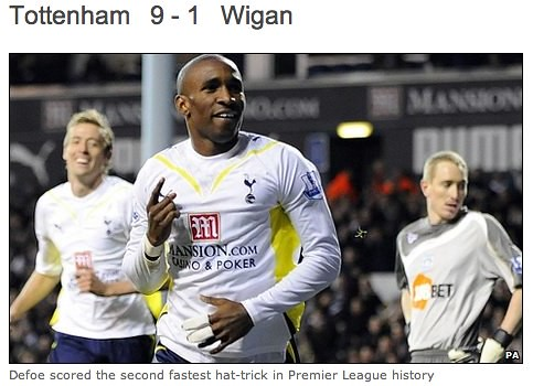 BBC Sport - Football - Tottenham 9-1 Wigan
