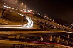 Traffic Lines (Dave-Johnson) Tags: night lights highway michigan grandrapids lighttrails streaks lightstream