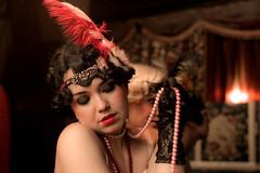 Pearls for swine (dyorr) Tags: 1920s portrait woman beauty vintage model feather lips pearls retro artdeco brunette deco decadence dieselpunk