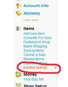 Inactive Listings is where?