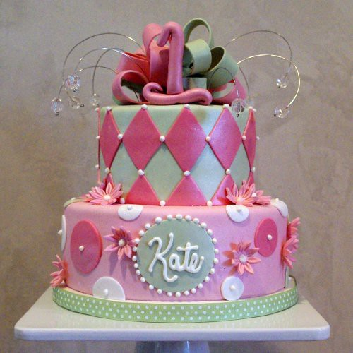 Girly 1st Birthday Cake