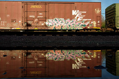 Double your pleasure (TRUE 2 DEATH) Tags: california railroad streetart reflection art water train graffiti tag graf traintracks rusty trains bn faded railcar rusted reflective weathered spraypaint boxcar mirrorimage railways railfan freight reefer freighttrain rollingstock wfe burlingtonnorthern tbv westernfruitexpress benching kamit freighttraingraffiti bnfe