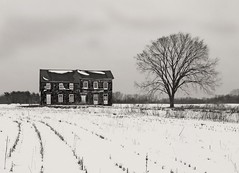 The old farmhouse on Monmouth Battlefield (joiseyshowaa) Tags: county new old winter sky bw white house snow black cold tree history abandoned grey blackwhite newjersey rust decay farm mother nj resort shore jersey monmouth battlefield frigid jerseyshore challenge unused disintegration bigmomma joiseyshowaa joiseyshowa