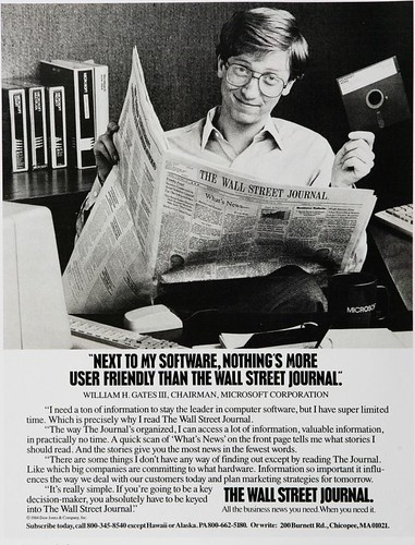 Bill Gates anunciando el Wall Street Journal (1984)