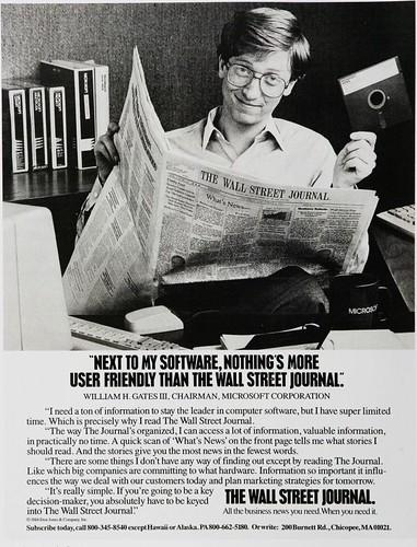 Bill Gates anunciando el Wall Street Journal (1984)