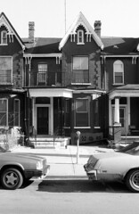 71 D'Arcy St - April 25, 1988 (collations) Tags: houses toronto ontario architecture blackwhite gothic victorian documentary vernacular streetscapes gothicrevival builtenvironment urbanfabric gothicrevivalstyle darcyst