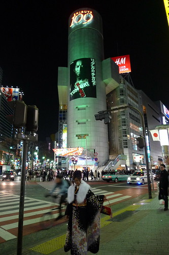 A kimono girl at Shibuya during the night