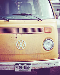 vw (shannonblue) Tags: bus yellow vw vintage volkswagen rusty dirty retro mustard headlight van fpoe