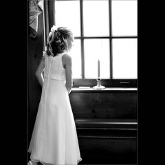 Wedding shot  ~ Great  Expectations ~ (~Phamster~) Tags: wedding white black window girl canon candle dress glazing 85l phamster