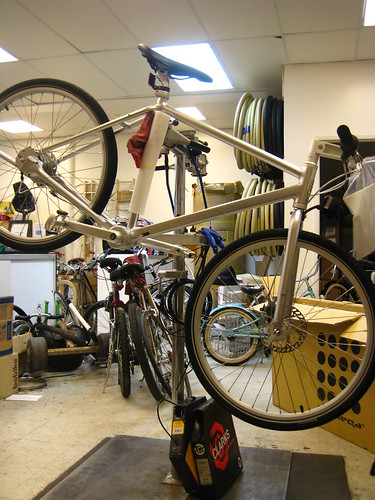 Biomegas Copenhagen bike - an 8-speed shaft driven bike in need of a thorough check-up after being quickly assembled at Flying Pigeon LA.